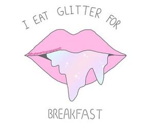 glitter, lips, and breakfast image