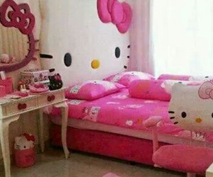 hello kitty, pink, and girls room image