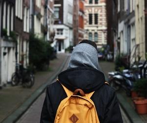 boy, bag, and city image