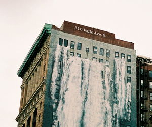 building, water, and waterfall image