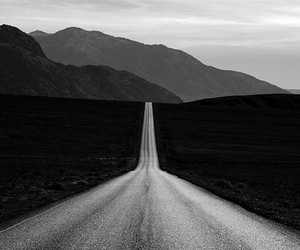 road, black and white, and mountains image