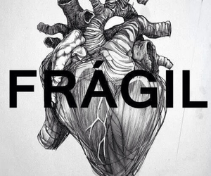 fragil, heart, and black image