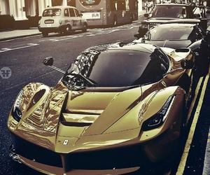 car, ferrari, and gold image