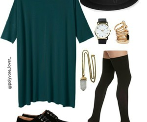 black flats, necklaces, and t-shirt dress image