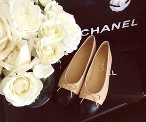 chanel, shoes, and flowers image