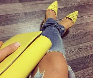 fashion, jeans, and yellow image