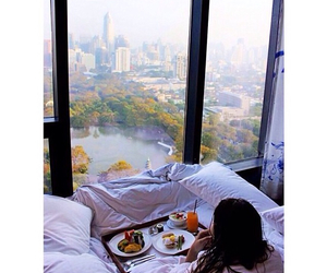 breakfast, bed, and cool image