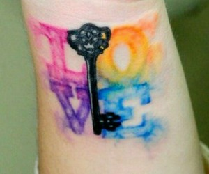 love, tattoo, and key image