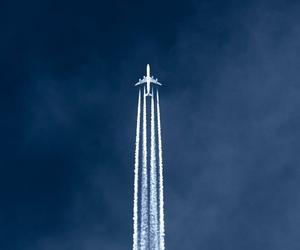 sky, plane, and airplane image