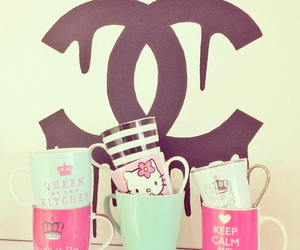 pink, chanel, and hello kitty image
