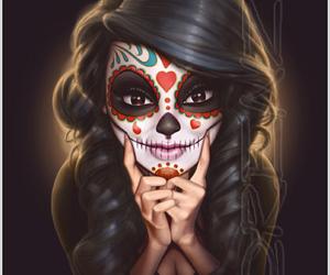 drawing and cute calavera girl image