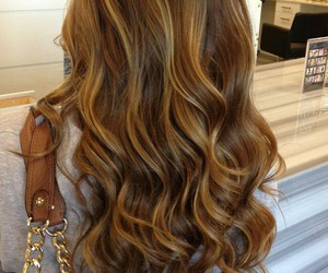brunette, highlights, and long image