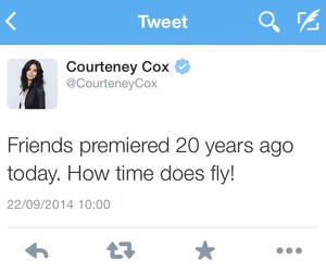 courtney cox, tv show, and tweet image