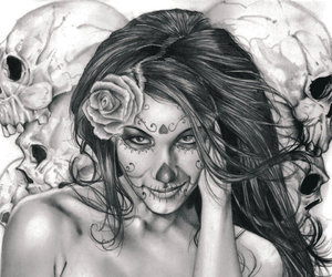 rose and skulls image