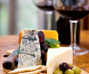 cheese, wine, and food image