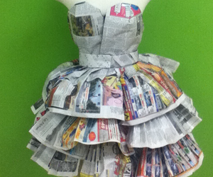 dress, newspaper, and recycle image