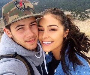 nick jonas, couple, and olivia culpo image
