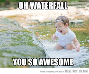 baby, waterfall, and funny image