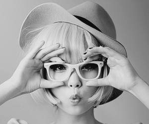 girl, black and white, and glasses image