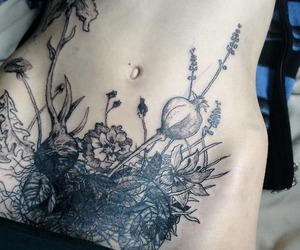 tattoo, flowers, and body image
