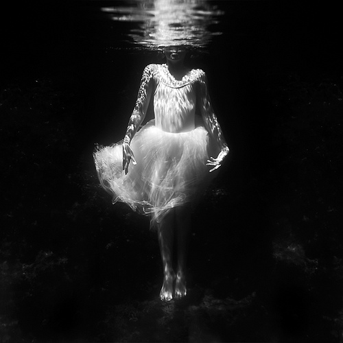 water, black and white, and dress image