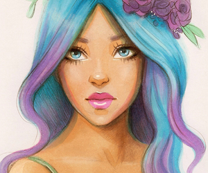 blue, girl, and draw image