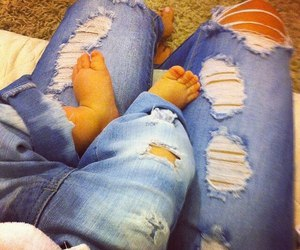 baby, jeans, and mom image