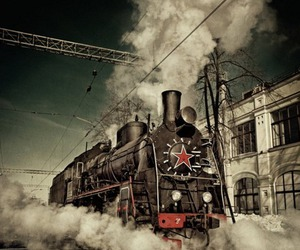 red star, steam, and train image