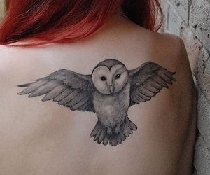 tattoo, owl, and red hair image
