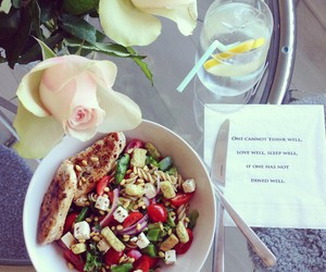 Chicken, flowers, and food image
