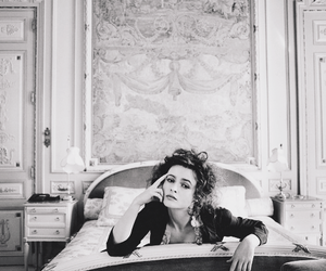 black and white, actress, and bed image