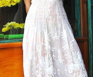 dress, floral, and white image