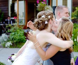 bride, hug, and happy image