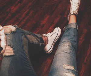 converse, jeans, and fashion image