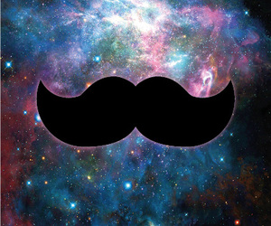 background, galaxy, and mustache image