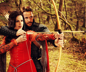 once upon a time, regina, and robin hood image