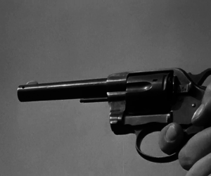 black and white, gun, and revolver image