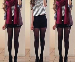 scarf, black shorts, and tights image