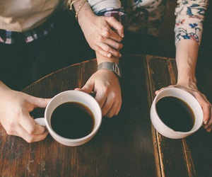 love, coffee, and couple image