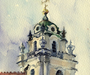 architecture, painting, and watercolor image