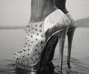 shoes, heels, and black and white image