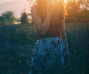 forest, sun, and woman image