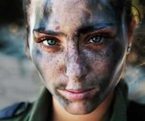 girl, eyes, and soldier image
