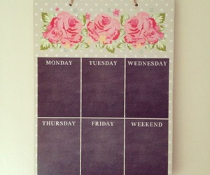 calendar, floral, and pink image