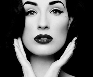 Dita von Teese, black and white, and Pin Up image