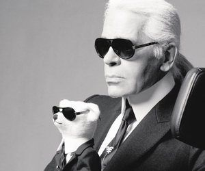 karl lagerfeld, black and white, and chanel image