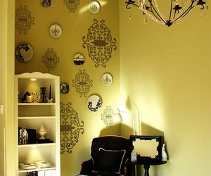 chandelier, damask, and decals image
