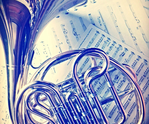 french horn, love music, and notes image