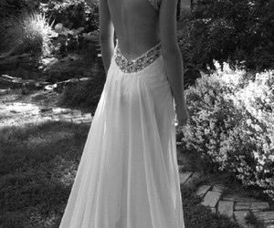 back, black and white, and dress image
