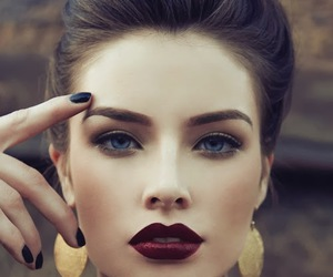 makeup, lips, and model image